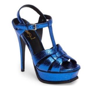 Metallic Blue Tribute 75 Classic T Strap Sandal
